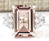 Zhiwen Chic Women Jewelry 925 Silver Natural Morganite & White Sapphire Wedding Ring Size 6-10 (US Code 6)