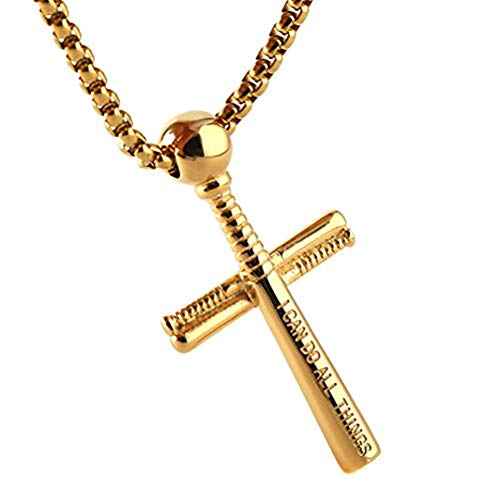 HZMAN Baseball and Baseball Bat Cross Youth Sports Pendant, I CAN DO ALL THINGS STRENGTH Bible Verse Stainless Steel Necklace