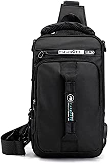 Black Chest bag backpack, one shoulder and waterproof for men and woman