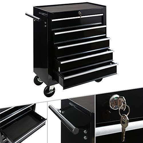 Arebos Werkstattwagen 5 Fächer/zentral abschließbar/Anti-Rutschbeschichtung/Räder mit Feststellbremse/Massives Metall/rot, blau oder schwarz (schwarz)
