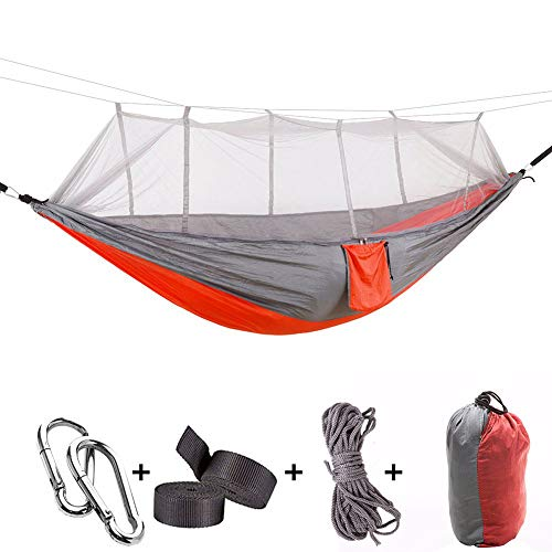 Yeeco Portable Camping Hammock, Lightweight Nylon Parachute Double Hammock with Mosquito Net and Tree Straps Camping Hanging Bed for Outdoor Camping Hiking Travel Yard Backpacking