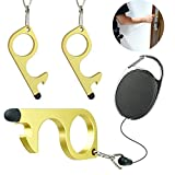 No Touch Door Opener with Retractable Keychain and Stylus, Avoid Touching Protector Keep Hand Clean Smart Tool for Handles, Elevators, ATMs, Keypads, Locks, Switches (3 Pack)