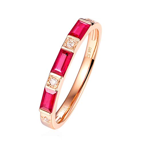 Ubestlove Ruby Promise Ring 30Th Birthday Gifts For Women Rectangle Ring N 1/2 Married Ring Gold