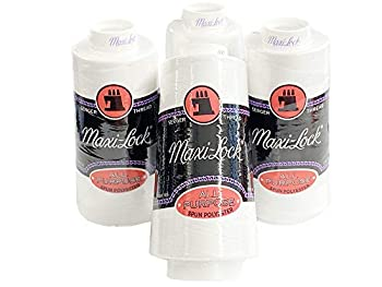 4 Large Cones  3000 Yards Each  Text 27 Polyester Sewing Quilting Serger Maxi Lock All Purpose Thread White or Black  White