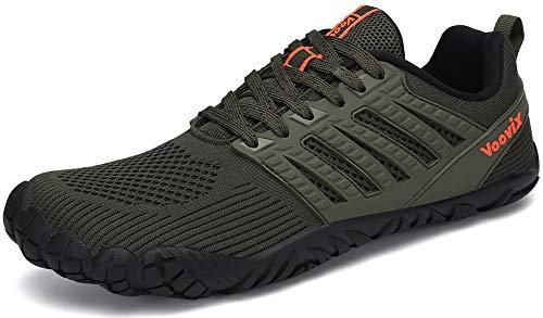 Voovix Hombre Mujer Zapatilla Minimalista de Barefoot Trail Running Unisex Zapatos Descalzos, Verde45