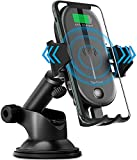 Toptrend Wireless car Charger,Qi 15W Fast Wireless car Charger Mount,IR Control Auto-Clamping Windshield Dashboard Air Vent Phone Holder