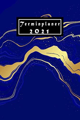 Terminplaner 2021: Kalender 2021 ,blau , A5 Wochenkalender /Wochenplaner , 12 Monate von Januar bis Dezember 2021 , Tagesplaner Wochenansicht