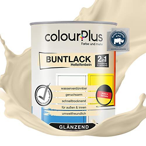 colourPlus® 2in1 Buntlack (750ml, RAL 1015 Hellelfenbein) glänzender Acryllack - Lack für Kinderspielzeug - Farbe für Holz - Holzfarbe Innen - Made in Germany