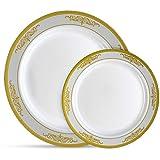 Laura Stein Designer Dinnerware Set | 32 Disposable Plastic Party...