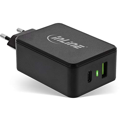 InLine® Power Delivery + Quick Charge 3.0 USB Netzteil, Ladegerät, USB-A + USB Typ-C, 33W, schwarz