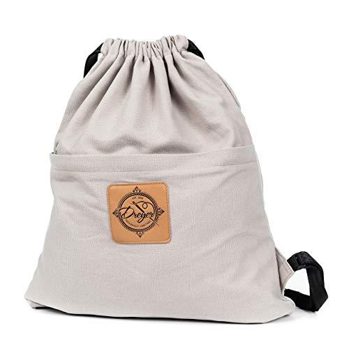 Dreyer Hipster Turnbeutel grau – Canvas Baumwoll Beutel mit 3 großen Innentaschen – Sportbeutel/Gymbag für Damen & Herren aus robuster Baumwolle und veganem Leder