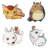 CoolChange 4 Imanes de Figuras Chibi de Studio Ghibli, como Tototro y la Princesa Mononoke etc.