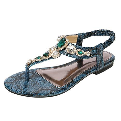 Darringls Sandalias para Mujer,Mujer Zapatos de Fondo Plano Sandalias De Tiras Fiesta Graduación Boda pedrería Talla Mujer Diamante Medio Talón Correa de Tobillo Boda Fiesta Noche Fiesta Bohemia