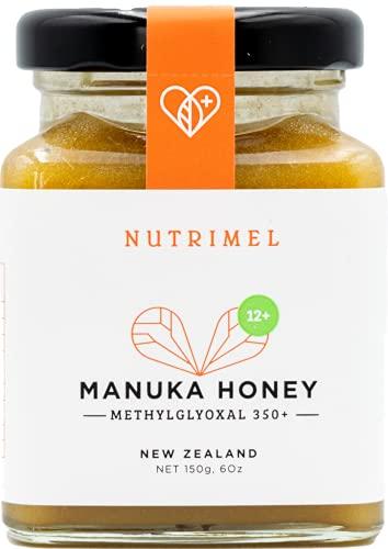 NUTRIMEL Miel de Manuka 12+ (MGO 350+) probado y certificado | 100{ac2d20ea54aa1d7434f2039984076c253cde95f778278ef04f3b6cdd0b47634a} pura Nueva Zelanda | (12+, 150g)