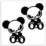 SkinoEu® 2 x PVC Pegatinas Laminadas Adhesivos Panda Oso Decoración Etiqueta para Motocycletas Autos Coches Ciclomotores Bicicletas Ordenador Portátil Regalo B 242