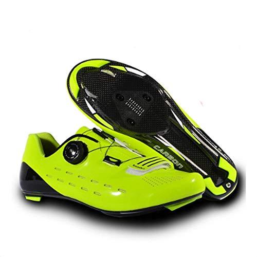 XXW Neue ultraleichte Carbon-Rennradschuhe Herren Pro Racing Bike Selbsthemmender Schuh Verschleißfester Rutschfester Fahrradschuh-Gelb_43