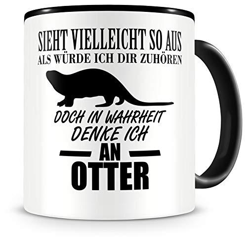 Samunshi® Ich denke an Otter Tiere Tasse Kaffeetasse Teetasse Kaffeepott Kaffeebecher Becher H:95mm/D:82mm schwarz