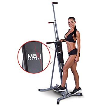 Maxi Climber The Original Patented Vertical Climber As Seen On TV - Full Body Workout with Bonus Fitness App for iOS and Android Black & Silver