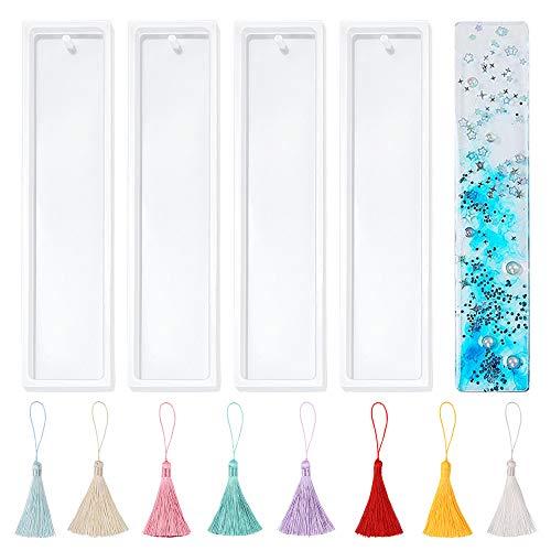 Stampo segnalibro in silicone,4 pezzi stampo segnalibro in resina fai da te e 16 pezzi nappa multicolore,5,5 pollici gioielli fai da te rettangolo stampo trasparente,segnalibro fai da te stampo