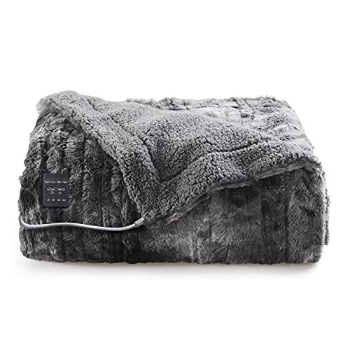 BedsureHeatedBlanket Throw50×60Inch,3HeatingSettings, 2/4/8H Timer, Auto-Off - Fast HeatingElectricBlanket- Low Voltage SuperSoftFauxFurTieDye Fleece...