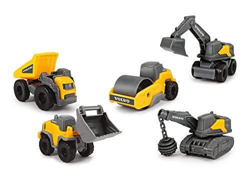 Dickie Toys Volvo Micro Workers, 5er Spielzeugset, Bagger, Baustelle, Set Baufahrzeuge, Baustellenauto Kinder, Baustellenfahrzeuge, Geschenkset, für Kinder ab 3 Jahren, gelb/grau
