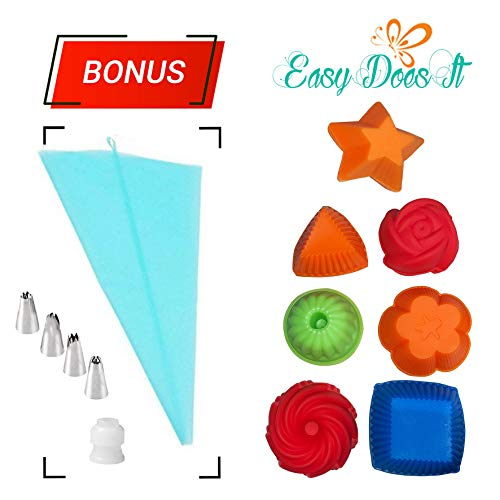 Silicone Cupcake Molds- 41 piece non-stick reusable silicone cupcake molds, perfect for all your cupcake needs - Easy Does It