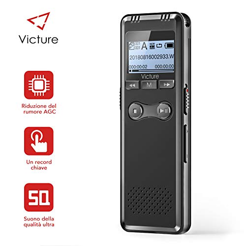 Victure Digital Dictaphone 8 GB Memory USB 1536kbps HD Dictaphone Sound Recorder with MP3 Player Built-In Microphone Batteries