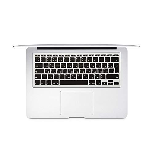 For Mac Book Air 11 inch Russian Colorful keyboard film EU Silicone Keyboard Protector Cover For air11.6 A1465 A1370 RU-Black-