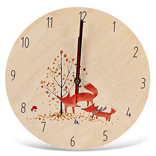 WANGY Ronde Mute Cartoon Fox Print Muur Klok Houten Decoratie Wandklok Home Decoratie Slaapkamer Woonkamer
