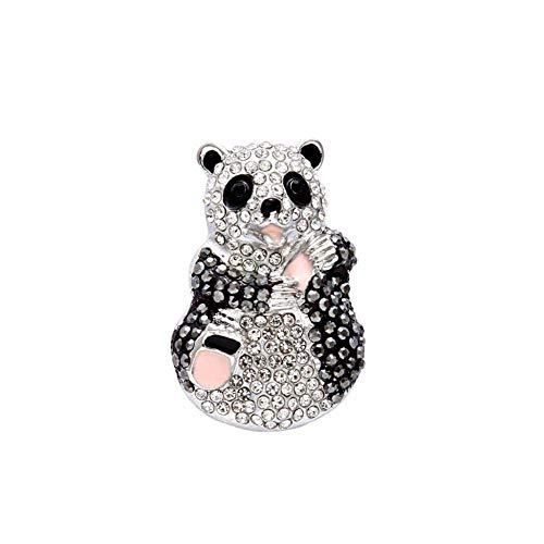 Broche elegante para mujer con diseño de panda en forma de estrás, para decoración de aleación