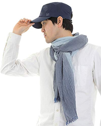 大判ストールコットン楊柳ビスコースストライプガーゼシワ感洗い晒し紫外線対策男女兼用(ネイビー)