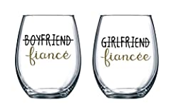 AWESOME ENGAGEMENT GIFT IDEA: The newly engaged couple will enjoy a relaxing evening with their new favorite wine glass, which reads Boyfriend/Girlfriend Fiance. Holds 15 ounces of your favorite white or red vino. THE GIFT THAT KEEPS ON GIVING - What...