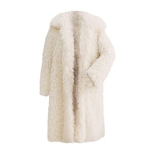 Yonlanclot Frauen-Normallack-Kunstpelz Langhülse Jacke Winter-Warmer Dicker Mantel-Fester Mantel-Mantel-Jacken-Wollmantel-Mantel(Weiß,M)