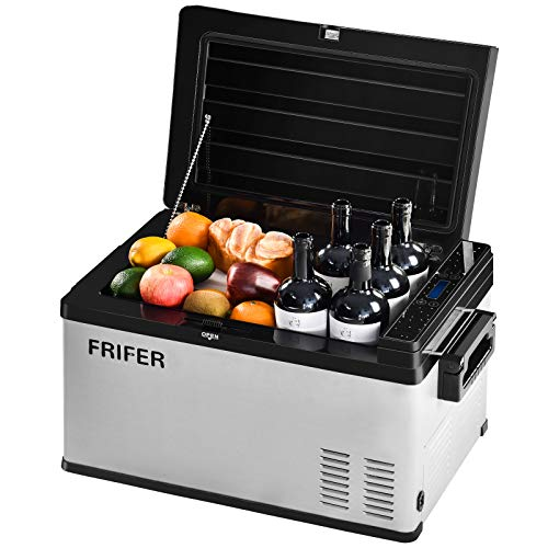 Houssem Car Refrigerator Camping,12/24 V Portable Freezer Fridge (32 Quart/30 Liter),Mini Electric Cooler For Camping, Trips, Fishing, Suitable For Outdoor And Home No Noise Use,Eco mode (-4°F-50°F)