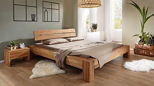 Möbel Akut Massivholzbett Bettgestell Holzbett Bett Wildeiche massiv geölt Kopfteil Baumkante Balkenoptik 180x200