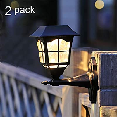 Maggift 6 Lumens Solar Wall Lantern Outdoor Christmas Solar Lights Wall Sconce Solar Outdoor Led Light Fixture with Wall Mount Kit (2 Pack) (Renewed)
