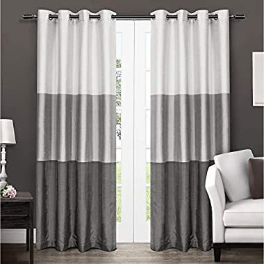 Exclusive Home Chateau Striped Faux Silk Window Curtain Panel Pair with Grommet Top 54x96 Black Pearl 2 Piece
