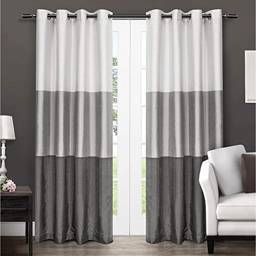 Exclusive Home Curtains Chateau Striped Faux Silk Window Curtain Panel Pair with Grommet Top, 54x96, Black Pearl, 2 Piece