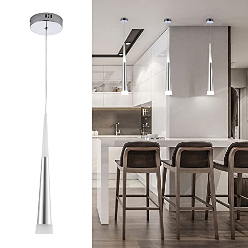 Harchee Mini Modern Pendant Light in Silver Brushed Finish with Acrylic Shade, Adjustable LED Cone Pendant Lighting Fixture for Kitchen Island, Dining Room, Farmhouse, Bar, 6W, Daylight 6000K 1-Light