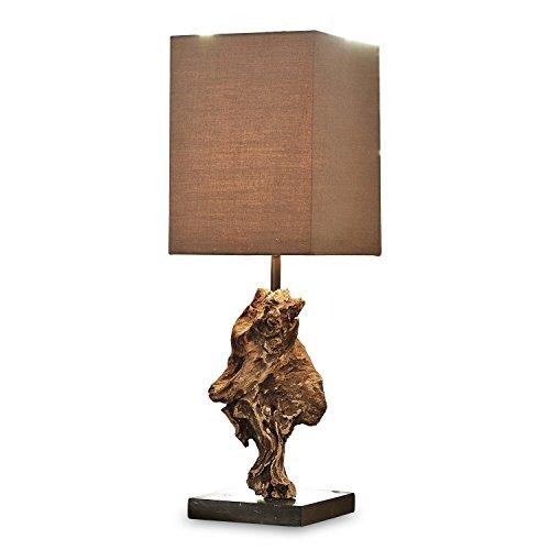 *Loberon Tischlampe Eadlyn, Baumwolle, wiederaufbereitetes Akazienholz, H/B/T 50/15 / 15 cm, braun, E14, max. 40 Watt, A++ bis E*