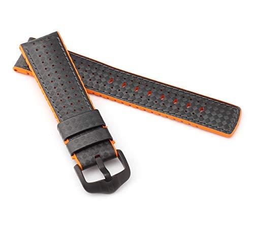 HIRSCH Herren Performance Uhrenarmband Modell Ayrton 20 mm Schwarz/orange