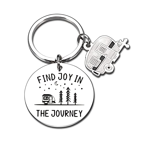 RV Camping Accessories for Travel Trailers Happy Camper Decor Keychain Accessories for Inside Supplies Motorhome Camping Gifts for The RV Owner Christmas Vacation Jewelry Retirement Gift for Women Men