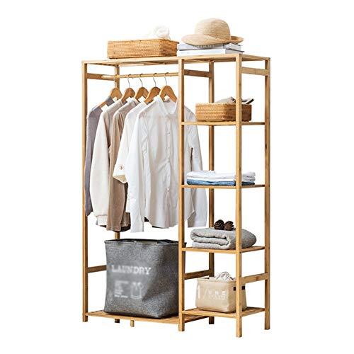 LIPENLI Madera sólida perchero de ropa del dormitorio perchero de pie rack de almacenamiento en rack rack creativa