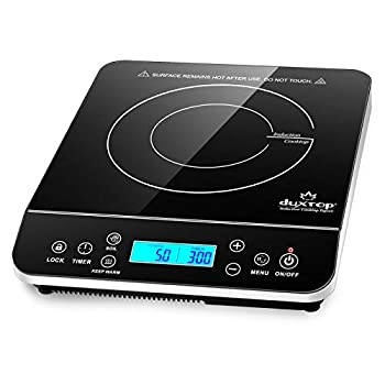 Duxtop Portable Induction Cooktop Countertop Burner Induction Hot Plate with LCD Sensor Touch 1800 Watts Silver 9600LS/BT-200DZ