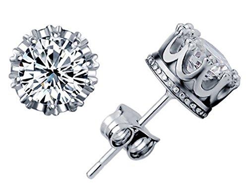 SaySure - 925 Crown Crystal Stud Earrings For Women