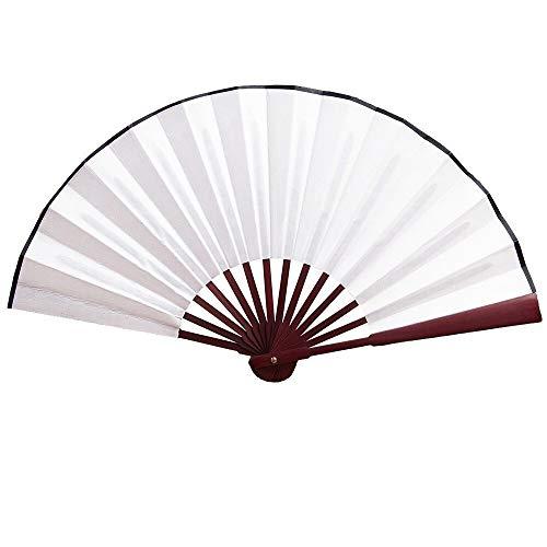 Plegable Ventilador Color sólido Retro Blanco Crepé Liso Ventilador Seda Ventiladores Plegables Plástico Ventilador de Madera Mano Personalizado Bambú Seda Rojo Abanico Tela