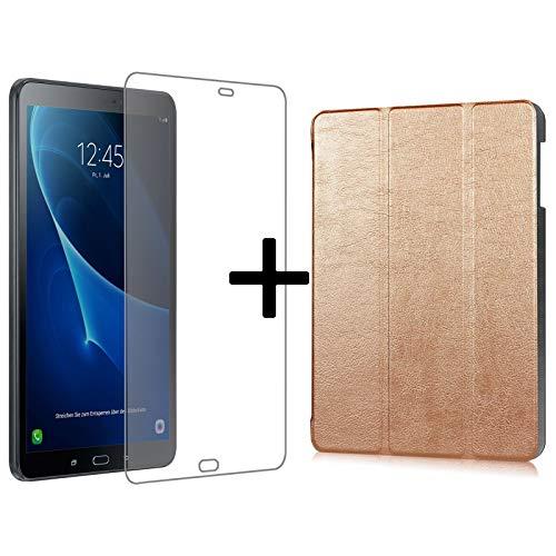 Set van 3 voor Samsung Galaxy Tab A 10.1 inch SM-T580 T585 tablet met hoes + veiligheidsglas + stylus met Auto Sleep/Wake beschermhoes Brons
