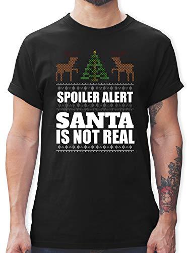 Weihnachten & Silvester - Spoiler Alter! Santa is not real - S - Schwarz - Shirt Spoiler - L190 - Tshirt Herren und Männer T-Shirts