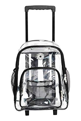 Rolling Clear Backpack Heavy Duty Bookbag Quality See Through Workbag Travel Daypack Transparent School Book Bags with Wheels Black