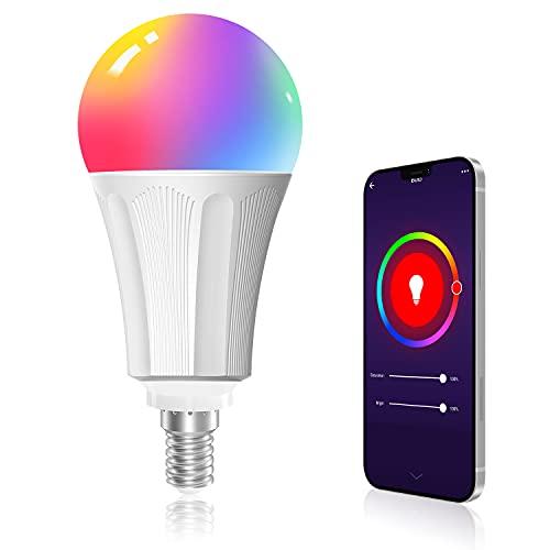 Bombilla WiFi, Maxcio Bombilla Inteligente WiFi LED RGBW Regulable Compatible con Alexa, Google Home E14 9W 810 lúmenes No requiere Hub, 1 Pieza